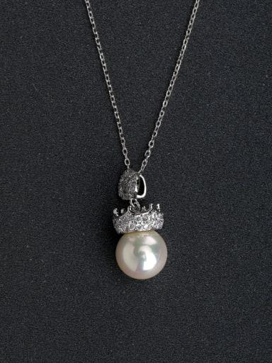 Micro inlay Zircon Crown Imitation pearls 925 Silver Necklaces