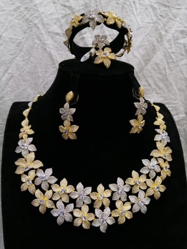 Copper With MIX Plated Trendy Flower 4 Piece Jewelry Set