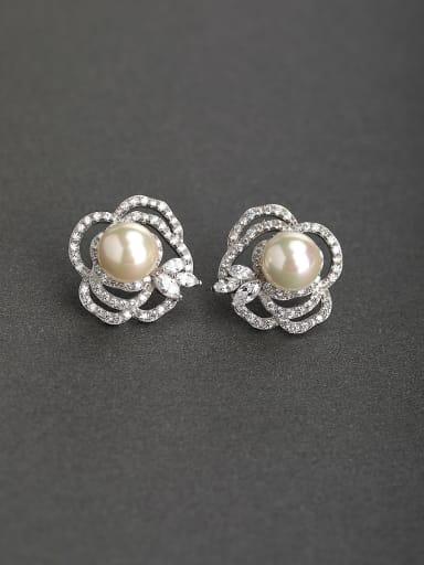 Bling bling Zircon Imitation pearls 925 silver Stud earrings