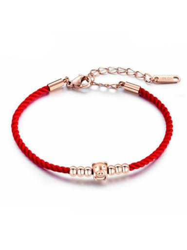 Stainless Steel With Rose Gold Plated Cute Animal pig Bracelets