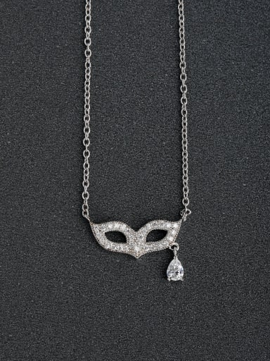 Micro inlay Zircon Dance mask 925 Silver Necklaces