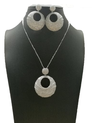 Copper With White Gold Plated Fashion Round 2 Piece Jewelry Set