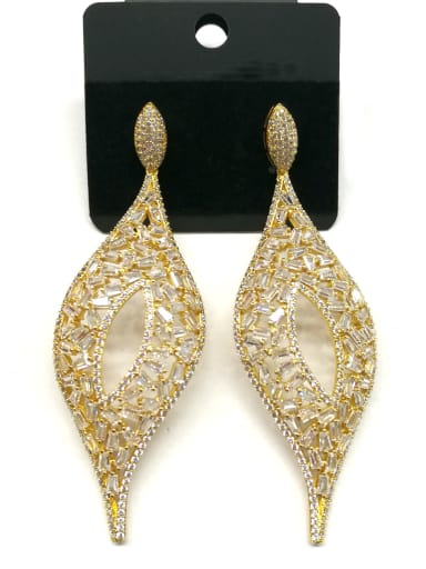 Copper With Gold Plated Fashion Leaf Drop Earrings