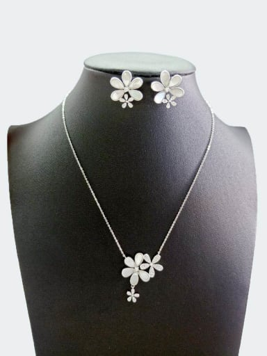 Copper With White Gold Plated Simplistic Flower Jewelry Sets