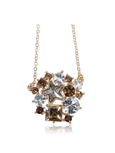 Crystal combination flowers  Swarovski element crystal necklace