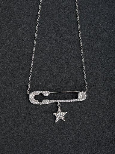 Rhinestone insert Pin Five-pointed star 925 Silver Necklace