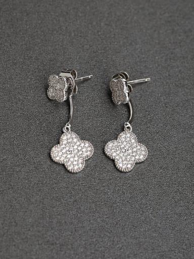 Inlaid  zircon Four leaf  Glittering 925 Silver Earrings