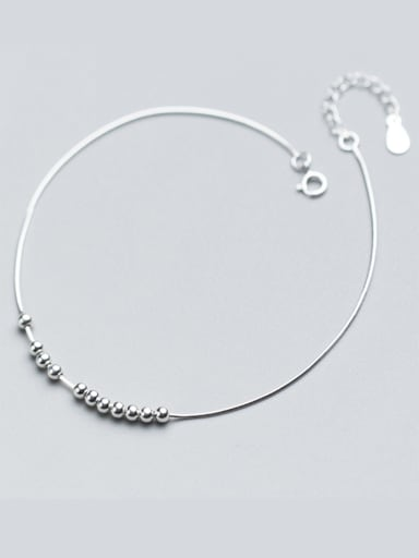 925 Sterling Silver With Platinum Plated Simplistic Ball Anklets