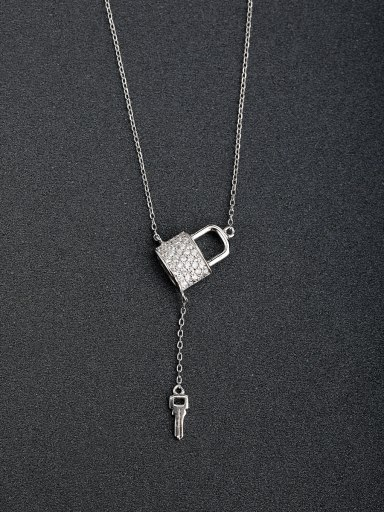 custom Micro inlay Zircon bling bling key and locket 925 Silver Necklaces