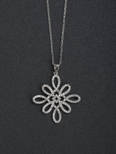 Luxury zircon Rhombus flower 925 silver necklace