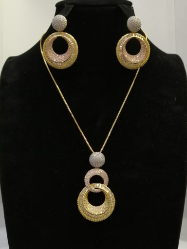 Copper With MIX Plated Fashion Round 2 Piece Jewelry Set