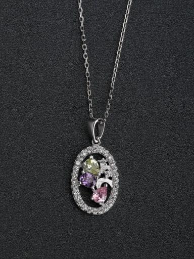 Inlaid zircon crystals 925  Silver Necklace