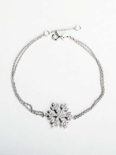 Minimalist design Rhinestone snowflake silver 925 Bracelets
