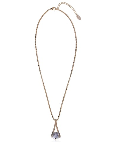 Simple rose gold zircon Long Necklace
