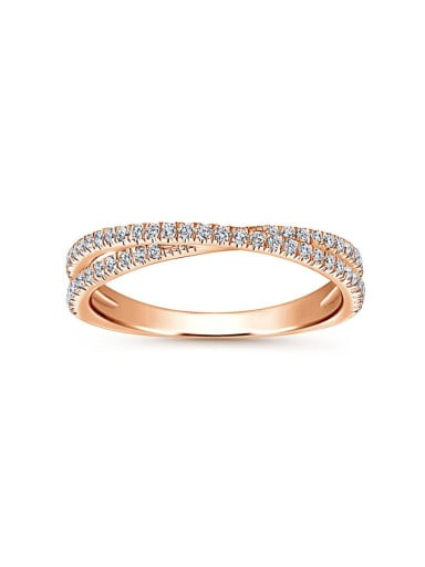 Copper With Rose Gold Plated Simplistic  Cubic Zirconia Band Rings