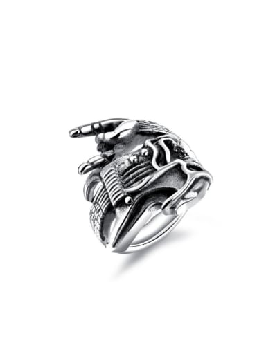 Stainless Steel With Antique Silver Plated Punk Skull Men Rings