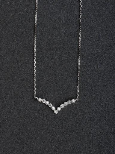 Micro inlay Zircon Letter V 925 Silver Necklaces