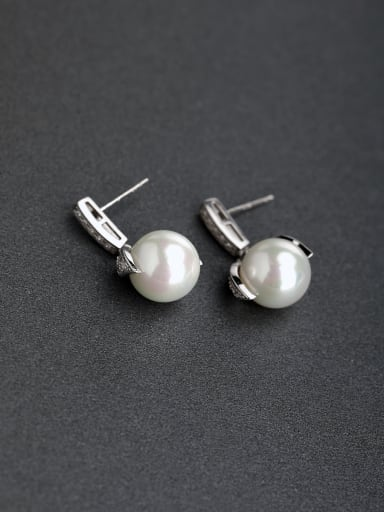 Elegant Imitation pearls 925 silver Stud earrings
