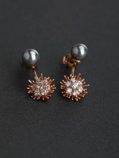 Micro inlay Zircon flower  Gray Pearl 925 silver Stud earrings
