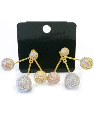 Copper With Mix Plated Fashion Ball Earrings