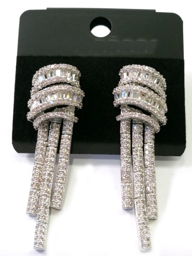 Copper With White Gold Plated Trendy Fringe Earrings