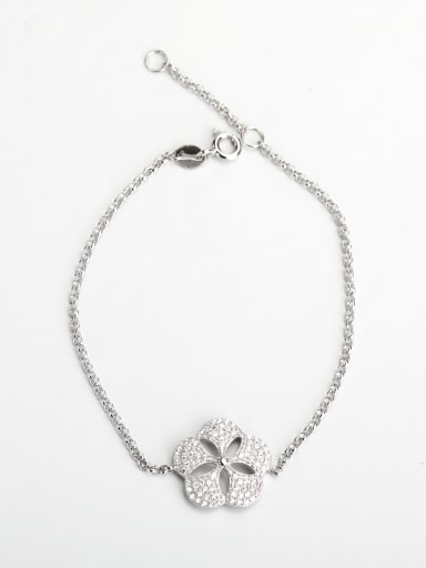 Minimalist design Rhinestone hollow Flower 925 silver Bracelets