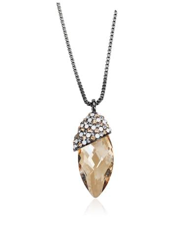 Slender, drop-shaped, red SWAROVSKI element crystal necklace