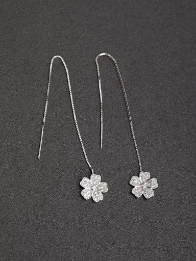 Micro inlay Zircon Flower 925 silver Threader Earrings