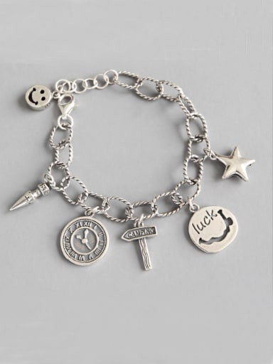 925 Sterling Silver With Antique Silver Plated cross round smile and luck Charm Bracelets