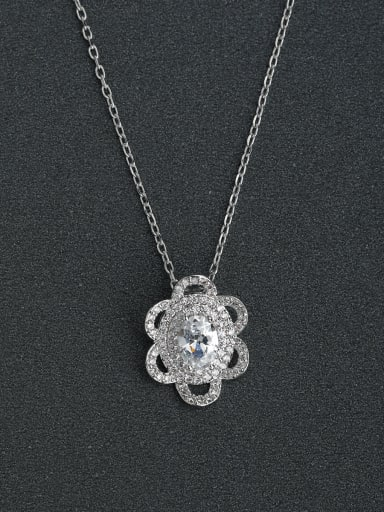 Mosaic Zircon flower necklace pendant  925 silver necklace