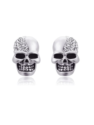 Stainless Steel With Cubic Zirconia Punk Skull Stud Earrings