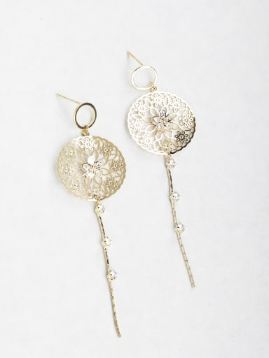 Very thin Carved Zircon Copper inlaid platinum Drop Earrings