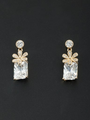Model No NY41288-001 A Gold Plated Stylish Zircon Drop drop Earring Of Flower