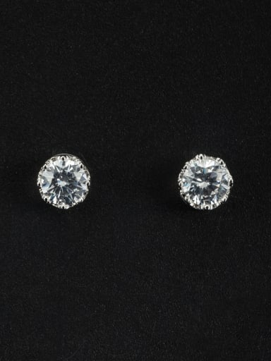 White Studs stud Earring with Platinum Plated Zircon