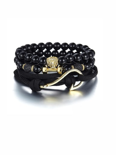 Model No A000075H Personalized Black Charm Beads Bracelet