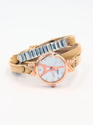 Fashion Yellow Alloy Quartz Round Faux Leather Women's Watch 24-27.5mm