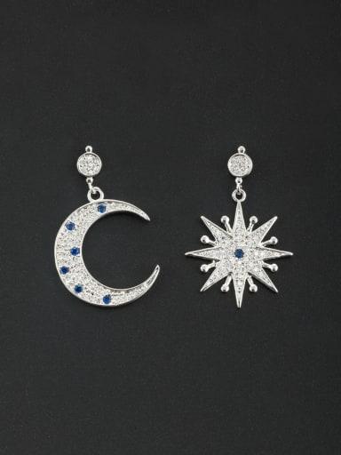 Personalized Platinum Plated Navy Star Zircon Drop drop Earring