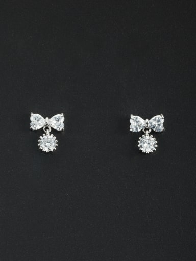Personalized Platinum Plated White Heart Zircon Drop drop Earring