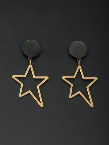 Mother's Initial Gold Drop drop Earring with Star
