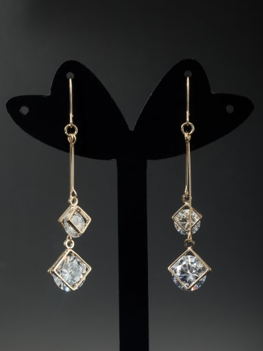Custom White Square Drop drop Earring with Gold Plated