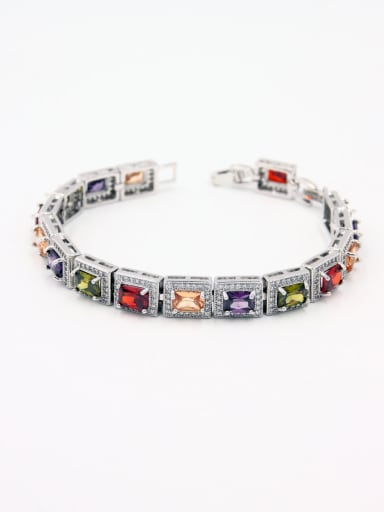 Mother's Initial Multi-Color bangle with Square Zircon