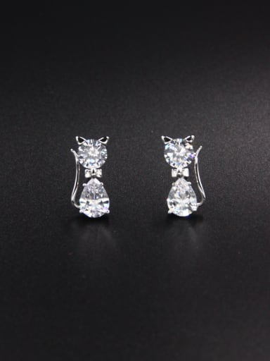 Custom White Cat Drop drop Earring with Platinum Plated