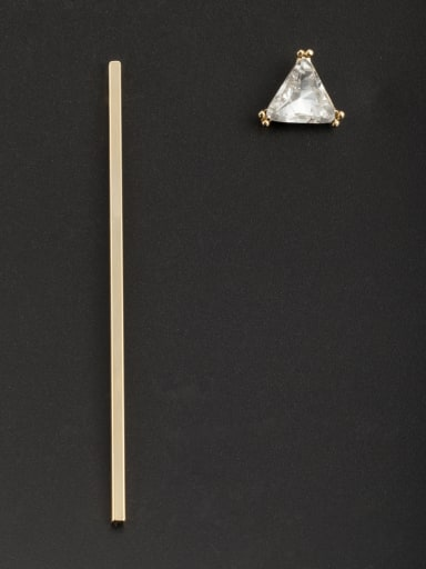Personalized Gold Plated Copper White Triangle Zircon Drop drop Earring
