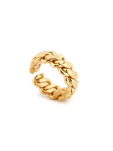 New design Gold Plated Titanium chain Band band ring in Gold color