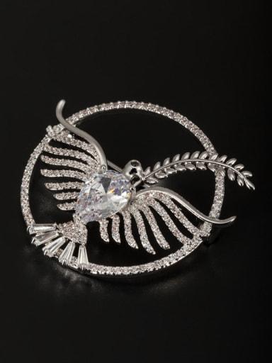 Platinum Plated Animal Motif Zircon White Lapel Pins & Brooche