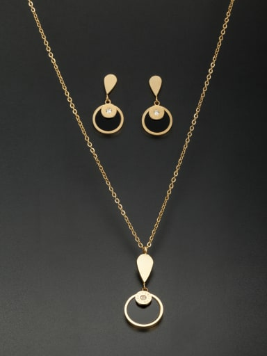 Model No A000233A-002 Stainless steel Round Rhinestone 2 Pieces Set