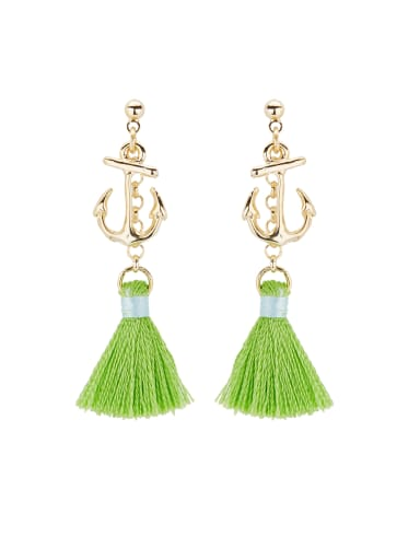 The new Gold Plated Copper  Drop drop Earring with Green
