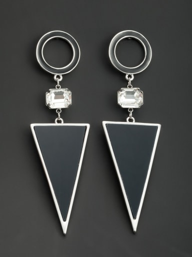 Black color Platinum Plated Round Acrylic Drop drop Earring