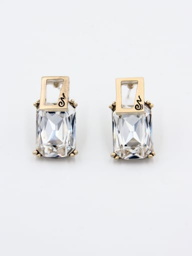 New design Gold Plated Geometric Swarovski Crystals Studs stud Earring in White color