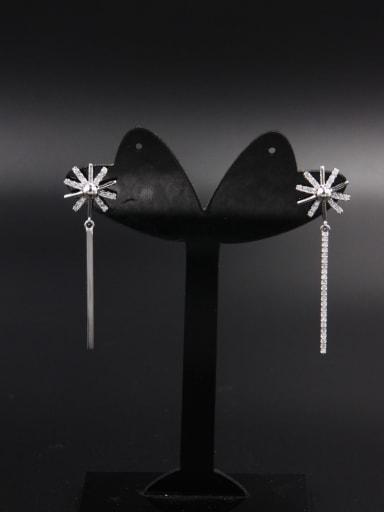 Model No Z00852H Flower Platinum Plated Zircon White Drop drop Earring